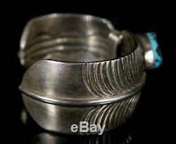 Bracelet En Turquoise Nugget Heavy Sterling Vintage Old Old Pawn Vintage Pour Hommes