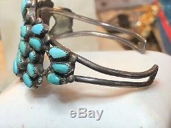 Bracelet Manchette À Pion Ancien En Argent Sterling Vintage Avec Turquoise Zuni