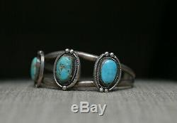 Bracelet Manchette Fantaisie Vintage Amérindien Amérindien Navajo Turquoise En Argent Sterling
