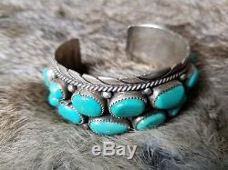 Bracelet Manchette Navajo Turquoise En Argent Sterling, Aussi Ancien Que Possible