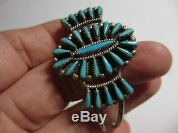 Bracelet Manchette Petit Point En Argent Sterling Et Turquoise Signé Xfine Early Vintage