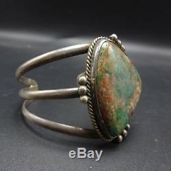 Bracelet Manchette Royston Turquoise En Argent Sterling Vintage Des Années 1960 Vintage Navajo 43g