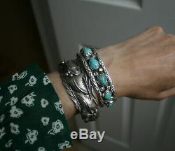 Bracelet Manchette Vintage En Argent Sterling, Amérindien, Turquoise Navajo