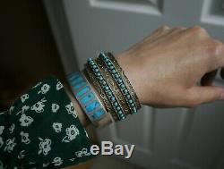 Bracelet Manchette Vintage En Argent Sterling Avec Amérindien Zuni Turquoise Eye