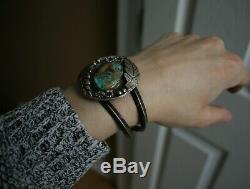 Bracelet Manchette Vintage En Argent Sterling Avec Turquoise En Argent Sterling