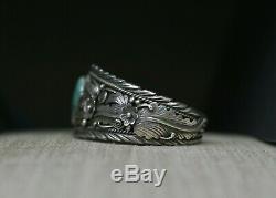 Bracelet Manchette Vintage En Argent Sterling, Navajo, Amérindien, Turquoise Foliée