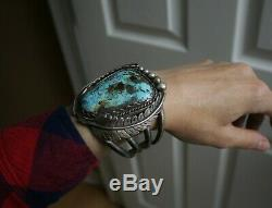 Bracelet Manchette Vintage En Argent Sterling Navajo Avec Turquoise Et Argent Massif, 126 G
