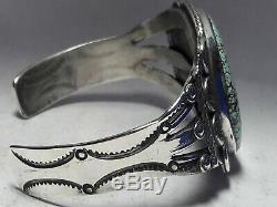 Bracelet Manchette Vintage En Argent Sterling Turquoise Numéro 8, 40,4 Grammes