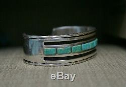 Bracelet Manchette Vintage Lourd En Argent Sterling, Amérindien, Turquoise Et Turquoise