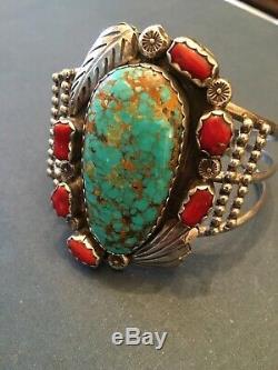 Bracelet Manchette Vtg En Argent Sterling Navajo Turquoise Cornaline Feather 7.5