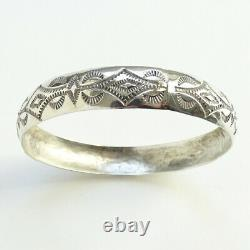 Bracelet Navajo Navajo Amérindien Vintage Sterling Silver Signé Wt Stamped