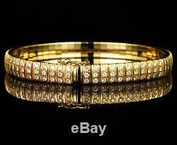 Bracelet Tennis À Trois Rangés, En Diamant Rond De 18 Ct, Or De 14 Ct, Jauné De 6 Ct 8