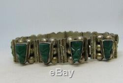 Bracelet Tribal Avec Onyx Vert Sculpté, Argent Massif, Pierres Précieuses Vintage Mexico