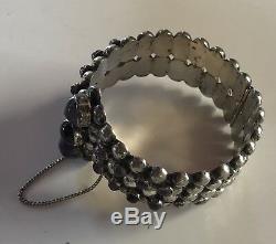 Bracelet Vintage En Argent Sterling Avec Améthyste Mexicain Des Années 1940