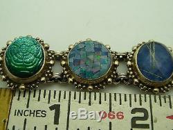 Bracelet Vintage Lapis Onyx Multi-stone 7 Avec Stephen Dweck En Argent Sterling