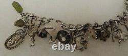 Bracelet Vintage Sterling Silver Estate Charm Avec 20 Charms 44.3 Grammes