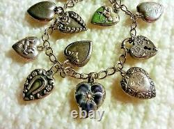 Bracelet Vintage Sterling Silver Puffy Heart Charm Des Années 40 Repousse, Émail, Médaillon