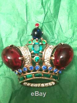 Broche Épingle De Couronne Trifari Alfred Philippe Regal Vintage En Argent Sterling Des Années 1940