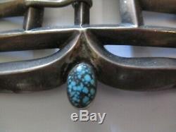Ceinture En Argent Sterling Anciennes Navajo Boucle Grande 3 Pouces Pawn Turquoise