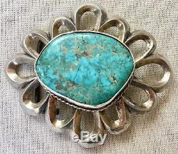 Ceinture Lourde Énorme Turquoise Boucle Cast Sable En Argent Sterling Vtg Amérindien