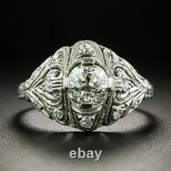 Circa 1930s Engagement Vintage Estate Retro Ring 14k Or Blanc Plus De 2ct Diamond