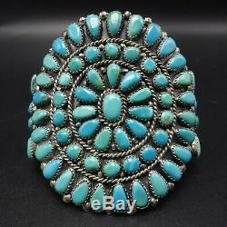 Classic Vintage Navajo Argent Sterling Turquoise Cluster Manchette 70g