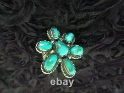 Classic Vintage Old Pawn Navajo En Argent Sterling Turquoise Flower Cluster Ring 7