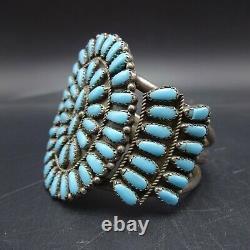 Classic Vintage Zuni Argent Sterling Turquoise Petit Point Couffet Bracelet
