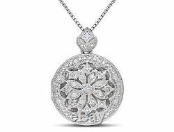 Collier À Pendentif Médaillon Avec Diamant Vintage Amour En Argent Sterling H-i I2-i3 18