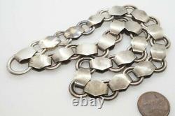 Collier Antique De Collier De Collier De Collier De Chaîne De Livre Gravé D'argent Victorien C1880
