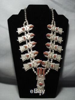 Collier De Fleur De Courge En Argent Sterling Kachina Corail De Qualité Vintage Navajo