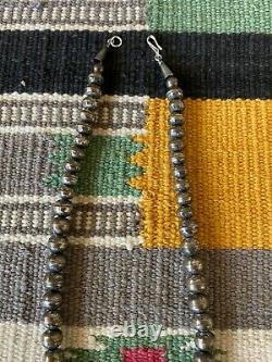Collier De Perles Navajo En Argent Sterling Vintage 16 1/2 Long