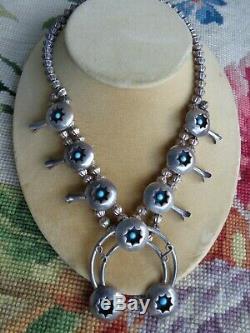 Collier En Argent Vintage Navajo Avec Amérindien, Turquoise Et Turquoise