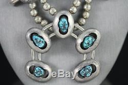 Collier Navajo Sterling Gem Grade Bisbee Turquoise Squash Blossom 1950