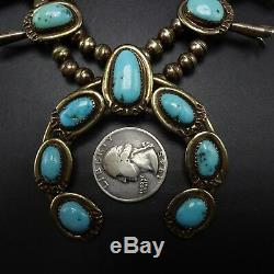 Collier Navajo Vintage En Argent Sterling Morenci Turquoise Squash Blossom