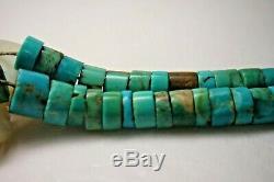 Collier Navajo Vintage Old Pion Turquoise Heishi Sterling Mop 2 Brins Jacla