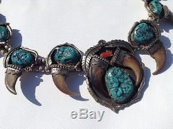 Collier Vintage Navajo En Argent Sterling Et Turquoise / Fleurs De Courge, 290 Gr