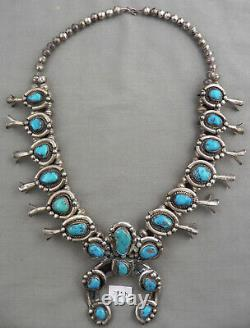 Collier Vintage Navajo Turquoise & Sterling Silver Squash Blossom