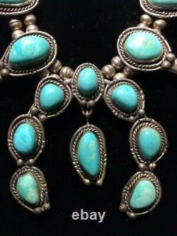 Collier Vintage Sterling Argent Turquoise De Fleur De Courge Avec Naja