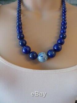 Collier Vtg Lrg Jay King Dtr Graduée En Perles De Lapis Opal Mosaïque En Argent Sterling
