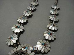 Complexe! Collier De Fleurs De Courge Vintage En Argent Sterling Avec Corail Turquoise Zuni