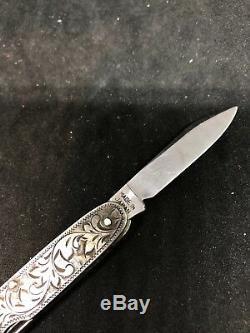 Couteau De Poche Pliant Orné Antique En Argent Sterling Vintage Art Nouveau