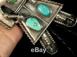 Cravate Bolo En Argent Sterling Vintage Vintage Avec Un Gros Pion Inhabituel Fait À La Main Sur Un Turquoise