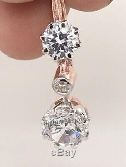 Cru Antique De Diamants Art Déco De 3,55 Ct À Levier En Or 14k Sur Des Boucles D'oreilles