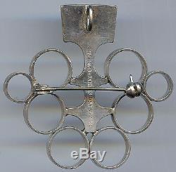 David Andersen Norway Vintage Modernist Sterling Silver Circles Broche Pin