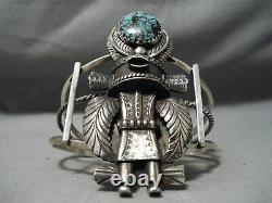 Déclaration Vintage Navajo Énorme Kachina Turquoise Bracelet En Argent Sterling Vieux