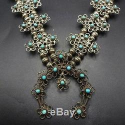 Délicate Vintage Zuni Turquoise Serpent Argent Massif Yeux Squash Blossom Collier