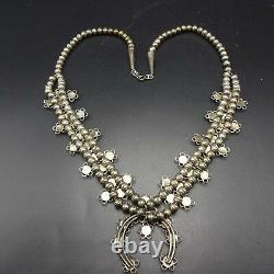 Délicatif Vintage Zuni Sterlingsilver Turquoise Serpent Oeil Squash Blossom Collier