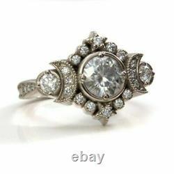 Demi-lune Vintage Antique Bague De Fiançailles Rétro 2 Ct Diamond 14k Or Blanc Sur