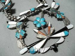 Détaillée! Collier Vintage Zuni Turquoise Sterling Silver Squash Blossom